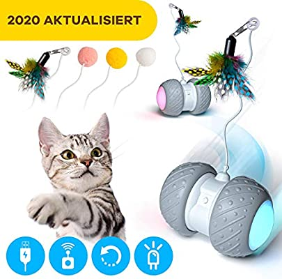 Ventvinal Bola de Gato, Juguete Gato Pelota interactiva giratoria automática de 360 Grados con luz LED de Carga USB,Pelotas Ejercicio para Animal Doméstico Gatos-Batería Recargable Incorporada: Amazon.es: Productos para mascotas