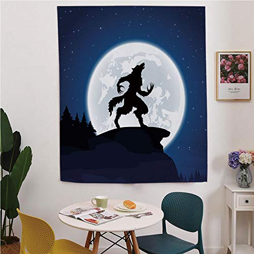 (Wolf Blackout Window Curtain,Free Punching Magic Stickers Curtain,Full Moon Night Sky Growling Werewolf Mythical Creature in Woods Halloween,for Living Room,Study, Kitchen, Dormitory, Hotel,Dark)