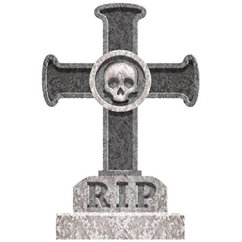 Amscan Creepy Cemetery Halloween Party Skull and Cross Tombstone Decoration (1 Piece), Grey, 22