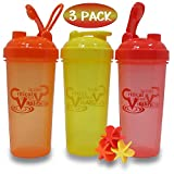 Protein Shaker Bottles by Critical Vitality | Red-Orange-Yellow 25oz/700ml Tumblers with Blender-Mixer-Balls, Leak Proof BPA Free Sports Travel Water Container Fits in Cup Holders and Dishwasher Safe For Sale