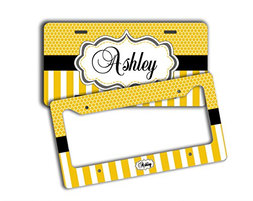 Monogrammed personalized license plate PLUS frame - Yellow stripes with black - customized monogram car tag front and back frame (SET) by To Gild The Lily