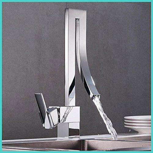 CZOOR Moderne Silber Messing Waschbecken Wasserhahn einzigen Griff Wasserfall Waschtischmischer Warmes und kaltes Bad Armatur Waschtisch Wasserfall Armatur Tippen