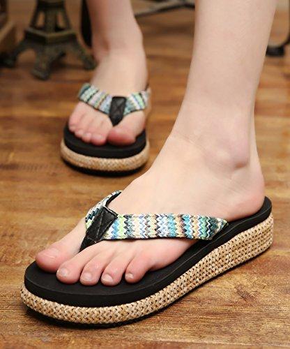 CHAOXIANG Chanclas Para Mujer Antideslizante Zapatillas De Tacón Alto Sandalias De Surf Nuevo Zapatos De Playa Del Verano ( Color : D , Tamaño : EU36/UK4-4.5/CN37 ) C