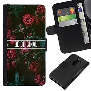 Stuss Case / Funda Carcasa PU de Cuero - Rosas floral motivación - LG G2 D800