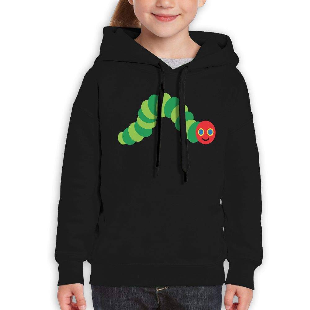 Guiping The Very Hungry Caterpillar Boys and Girls Pullover Hooded Sweatshirt Black XL