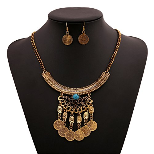 Lanue Fashion Bib Bohemian Statement Coin Necklace and Earrings Punk Ethnic style Jewelry Set for Women (Style 4) -