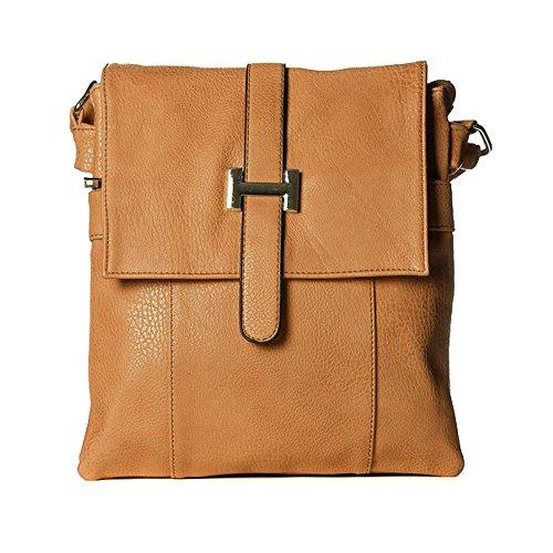 Ladies Faux Leather Cross Body Messenger Bag Women Shoulder Tote Satchel Handbag Tan