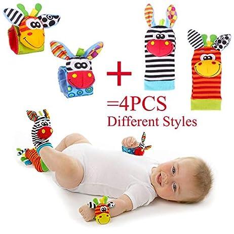 Baby Rattle Neonato Sonagli Calzini da Polso a Sonaglio per Bambini, Simpatici Animaletti Developmental Soft Toys… Abbigliamento Baby Rattle 6