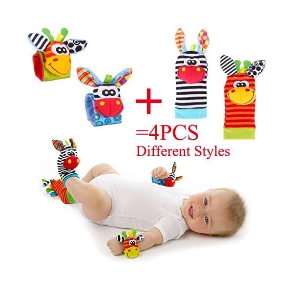 Baby Rattle Neonato Sonagli Calzini da Polso a Sonaglio per Bambini, Simpatici Animaletti Developmental Soft Toys… 5