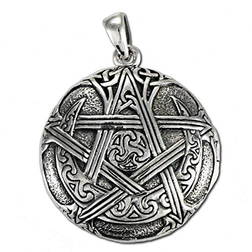 Sterling Silver Moon Pentacle Pentagram Aromatherapy Locket; 1 Inch Diameter