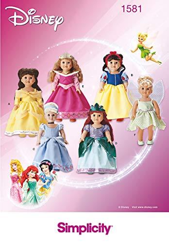Simplicity 1581 Disney Princess Doll Clothes