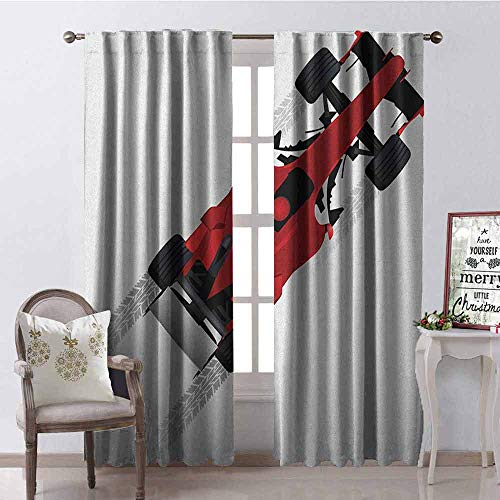 Gloria Johnson Cars Wear-Resistant Color Curtain Formula Car on Speedway Championship Fast Performance Rally Strong Vehicle Waterproof Fabric W52 x L84 Inch Red Black Pale Gray