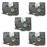 12Mm Label Printer - SIENOC Replacement Label Tape Compatible with Brother TZ231 Tze231 Black on White, 12mm Wide x 8m Length Pack of 5
