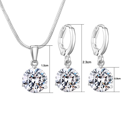 CARSINEL Classical Cubic Zirconia Necklace & Earrings Jewelry Set for Brides Bridesmaid Wedding Party Prom(White-4PCS) by CARSINEL (Image #1)
