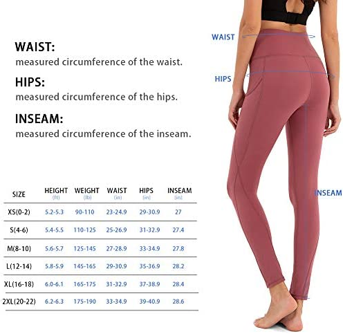 BROMEN Women's High Waisted Yoga Pants with Pockets Leggings for Women Buttery Soft Work Out Pants Tummy Control