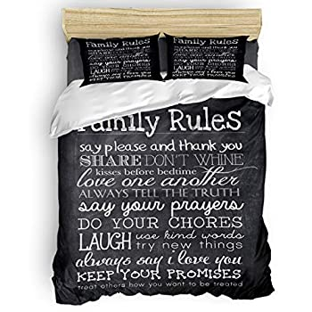 Image of Home and Kitchen Queener Home 3 Pieces Bedding Sets Full Duvet Cover with 2 Decorative Pillow Shams, Family Rules Black Chalkboard