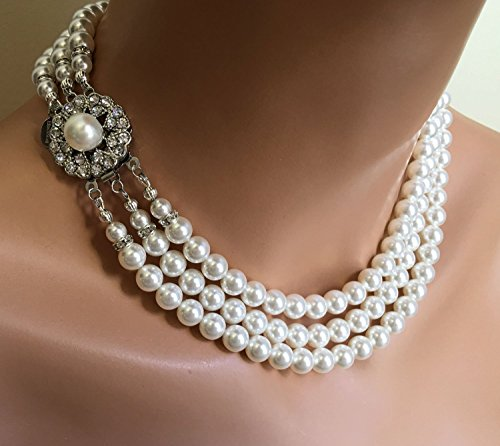 Classic Pearl Necklace Set Vintage style like Jackie O Earrings included with Fancy Rhinestone Clasp multistrand Swarovski pearls White or Cream Ivory wedding jewelry by Alexi Blackwell Bridal -