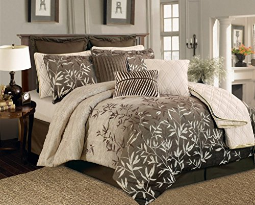 Legacy Decor 12 Pc. Beige, Taupe and Brown Leaf Plant Print Comforter Set with Quilt Included, Queen Size