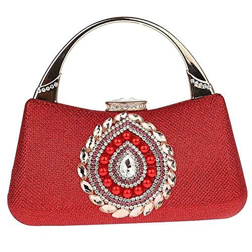 Banchetto perla moda grow Bag Prom quadrato Glitter di colore strass borsa nozze piccolo Donna Sky Soft regalo oro Clutch Rosso v1AqAnfw