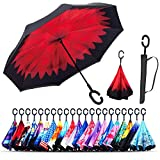 Monstleo Inverted Umbrella,Double Layer Reverse Umbrella for Car and Outdoor Use by, Windproof UV Protection Big Straight Umbrella with C-Shaped Handle and Carrying Bag (Bella Flower)