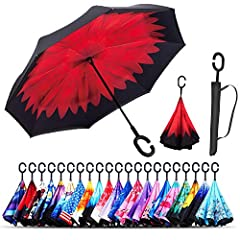 Get in and out without getting wet The Monstleo Inverted Umbrella, with its reverse opening mechanism, opens outdoors while you're still indoors or inside of your car. This practical configuration ensures that you stay dry and look impeccable...