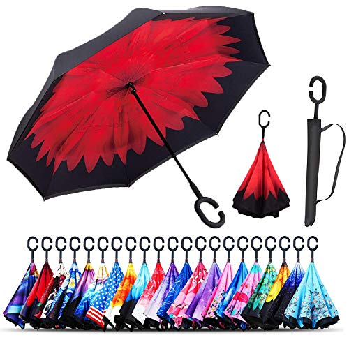 Monstleo Inverted Umbrella,Double Layer Reverse Umbrella for Car and Outdoor Use by, Windproof UV Protection Big Straight Umbrella with C-Shaped Handle and Carrying Bag (Bella Flower) ()