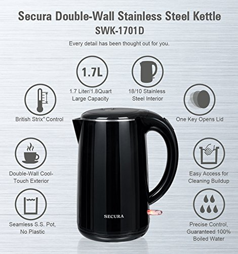 Secura The Original 1.8Qt Stainless Steel Double Wall Electric Tea Kettle with Auto Shut-Off & Boil Dry Protection Water Boiler (BPA-Free/FDA Certified/ETL Approved) by Secura (Image #4)