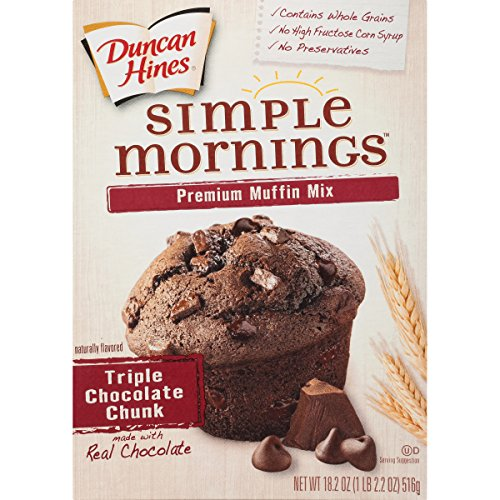Duncan Hines Simple Mornings Muffin Mix, Triple Chocolate Chunk, 18.2 Ounce