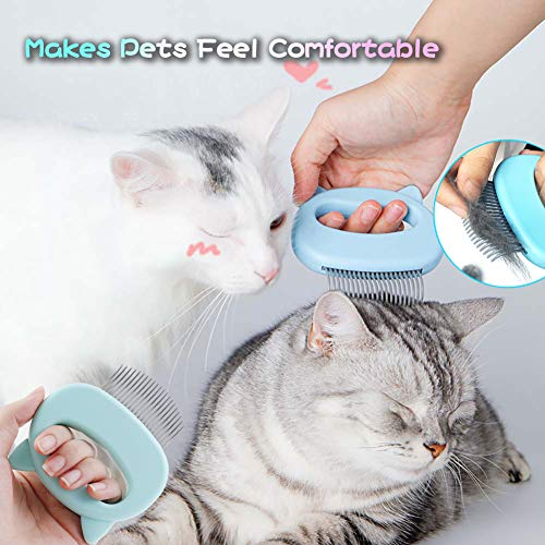 Leos Paw Pet Cat Hair Removal Massaging Shell Comb Comfy Deshedding Brush for Grooming and Shedding Short Hair Dog Hair Remover Massage Comb Slicker Hair Removal Cleaning Undercoat Brush Tool (Green)