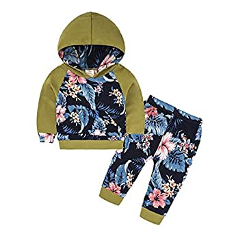 Fairy Baby Toddler Baby Girls Outfit Clothes Casual Cotton Hood Sweatshirt and Pant Set Size 12-18M (Army Green)