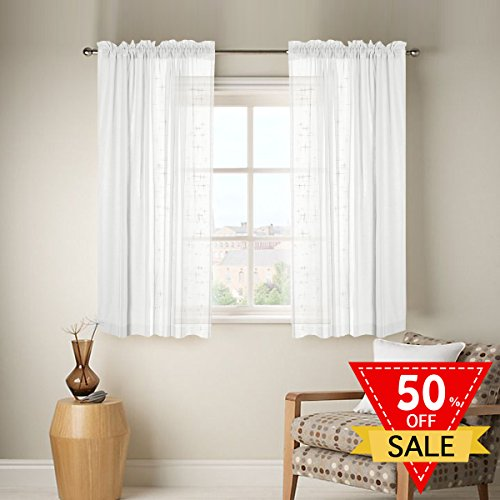 Linen Sheer Curtains with Two bonus tie-back for Bedroom, Back Tab/Rod Pocket, W52 inch X L63 inch, White (Set of 2 Panels) (Tab Back Sheers)