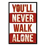 Liverpool FC You'll Never Walk Alone Poster Magnetic Notice Board Black Framed - 96.5 x 66 cms (Approx 38 x 26 inches)