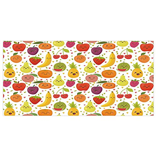 iPrint 47.2x23.6 Floor/Wall Sticker Removable,Fruits,Smiling Banana Funny Mulberry Happy Apricot Peach Hearts Lemons Kids Nursery Theme,Multicolor,for Living Room Bathroom Decoration (Happy Dots Apricot)