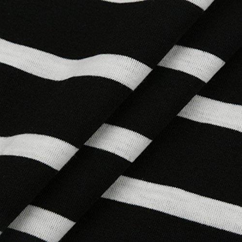Vestido de fiesta del vestido de la manga larga del vestido de la impresión V de las mujeres por HARRYSTORE Negro