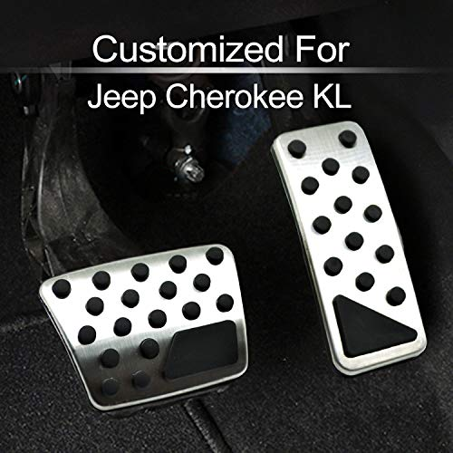 Accelerator and Brake Pedal Cover Compatible with fit for Jeep Cherokee KL 2014 2015 2016 2017 2018 2019 No Drill Stainless Steel Gas Pad Plate Cap Accessories, by MECHCOS