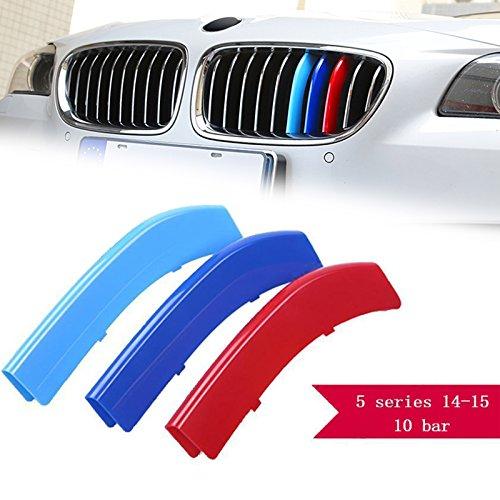 - 1 set M-Colored Kidney Grille Insert Trim TRI Color M Sport Strips Fit BMW 5 Series Standard Chrome Grills F10 F11 (10 Beam Bars)