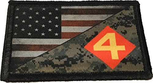 USMC 4th Marine Division USA Flag Morale Patch Tactical Military. 2x3