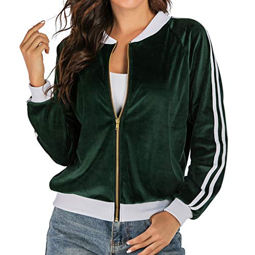 JESPER Women Fall Winter Velvet Baseball Bomber Jacket Long Sleeve Zipper Lightweight Casual Short Coat for Sport Green (Womens Brown Leather Bomber Jacket With Hood)