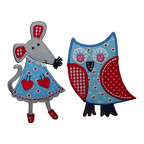 Pennant Patch - 2 Patches Set Flowers Owl Mouse Mend 6X11 Cm Patch Patch Fabric Patch Decoration Iron-On Backpack Bags Gym Bag Flap Pennant Türschild Pillow Shirt Jeans Skirt Pants Clothes Cap Hat Jacket Scarf Necke