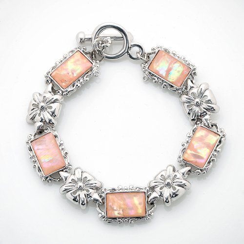 Mother of Pearl Flower Design Rectangle Pink Abalone Shell Link Toggle - Toggle Abalone