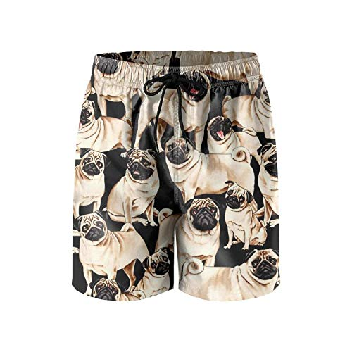 LONGSPQGHP Pug Dog Anime Cartoon Pattern Man's Beach Swimming Trunks Mesh Lining Sports Shorts Fashion Quick Dry Swim ()