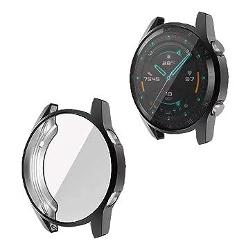 RLTech Funda para Huawei Watch GT 2 - Ultra Delgada TPU Anti-Rasguños Case Cover + Protector Pantalla para Huawei Watch GT 2 46mm, Negro