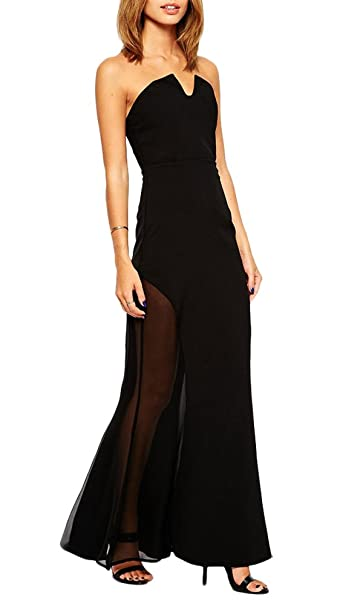 8f2d7347e8 Amazon.com: made2envy Strapless Maxi Dress with Sheer Inserts (L ...