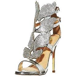 Rhinestone Stiletto Open Toe Heeled Sandal