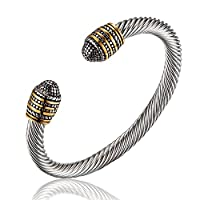 Elastic Adjustable Classic Mens Stainless Steel Twisted Cable Bracelet Two-color Vintage Metal Bangles