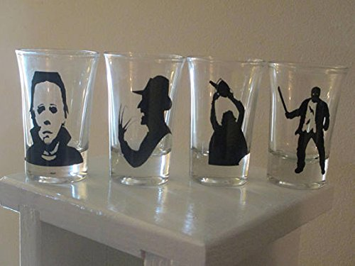 4 Slasher Shot Glasses Michael Myers Freddy Jason Leatherface Horror Halloween Merch Massacre Bar Drinkware]()