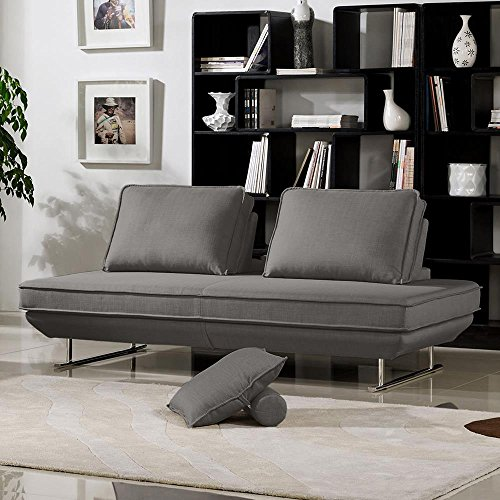 Deon Lounge Sofa Platform with Moveable Backrest – Grey Fabric