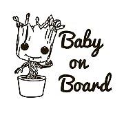 BABY GROOT Baby On Board Vinyl Sticker Decals for Car bumper window macbook pro laptop iPad iPhone (4  x 4.6 , Black)