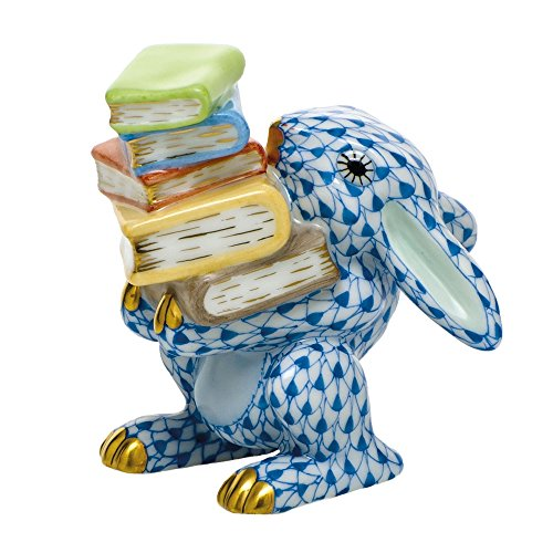 (Herend Scholarly Bunny Rabbit Porcelain Figurine Blue Fishnet)
