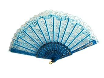 Lace Hand Fan - Foldable Fan - Party - Summer - Dance - Blue